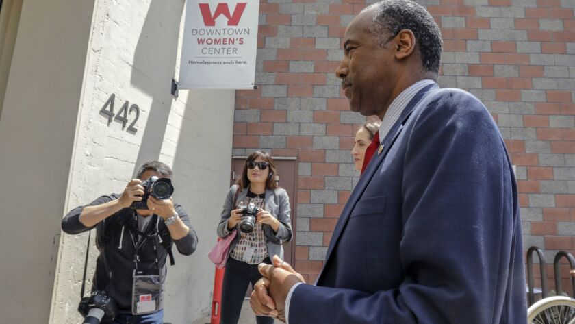 Housing and Urban Development Secretary Ben Carson visited a women's shelter this week in downtown Los Angeles.