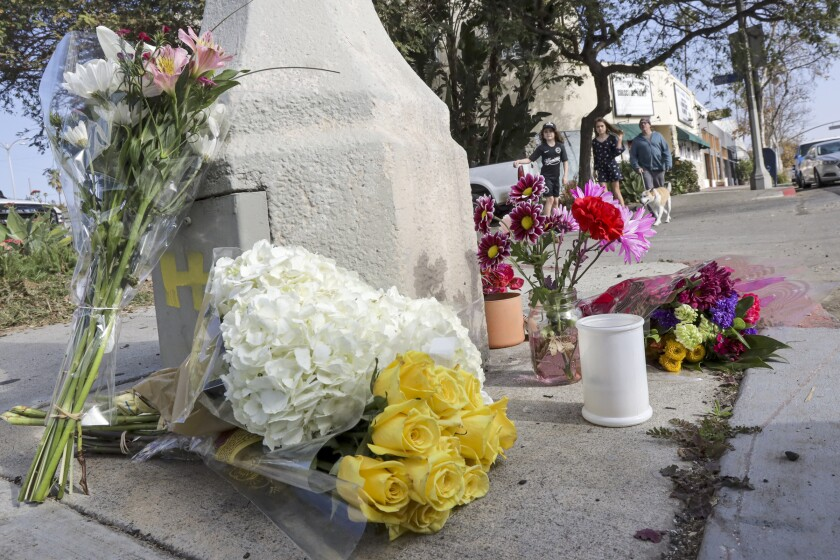 Makeshift memorial for Orson Bean