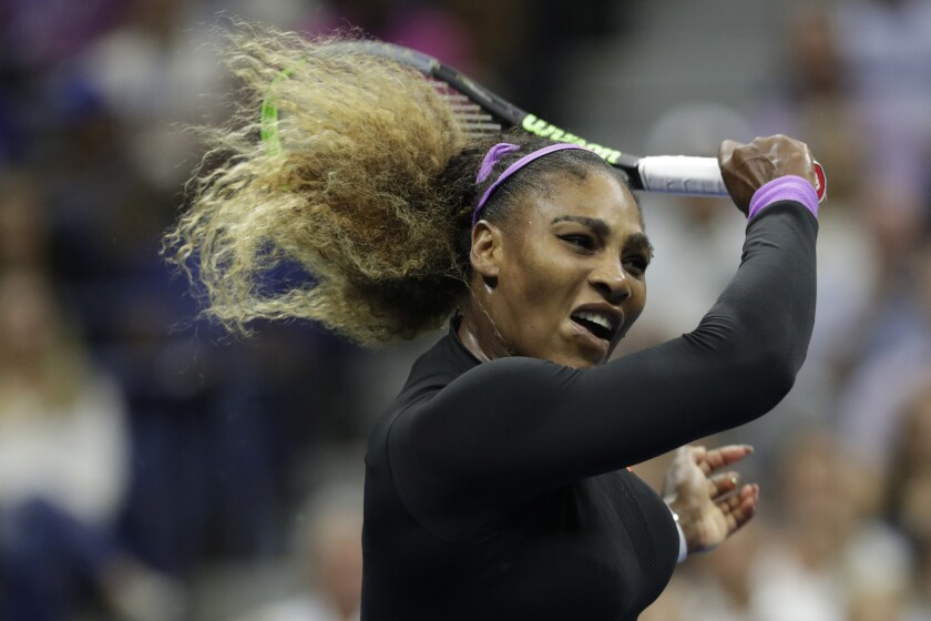 Serena Williams returns a shot during her semifinal victory over Elina Svitolina at the U.S. Open.