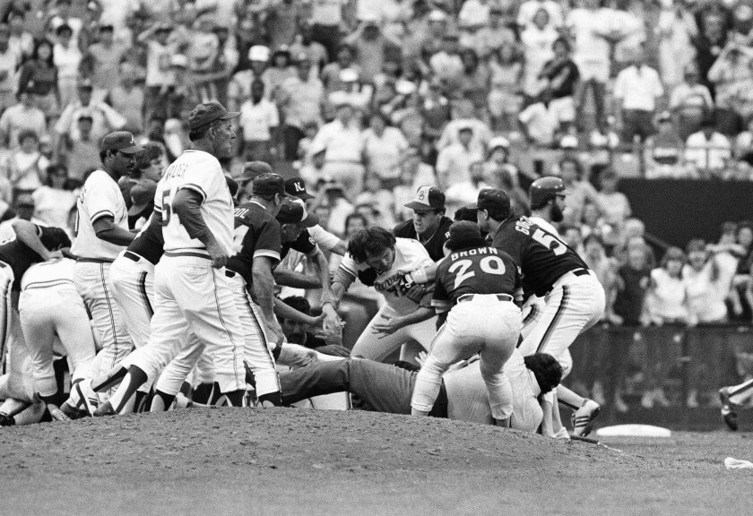 Padres and Braves brawl in Atlanta on Aug. 12, 1984.