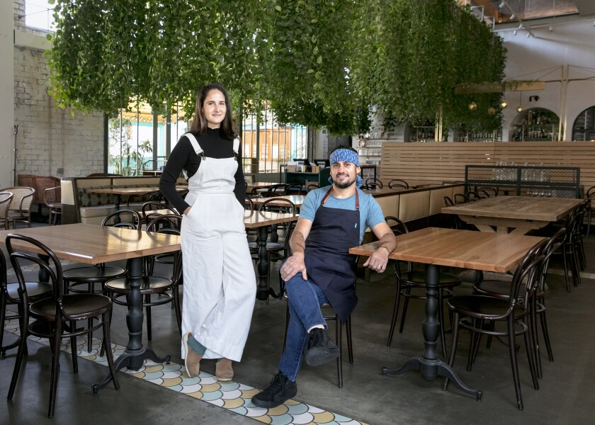 Husband-and-wife team Genevieve Gergis and Ori Menashe at their downtown Los Angeles restaurant Bavel.