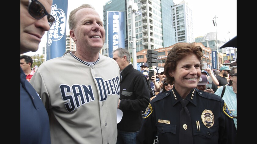 San Diego Mayor Kevin Faulconer and then-San Diego Police Chief Shelley Zimmerman.