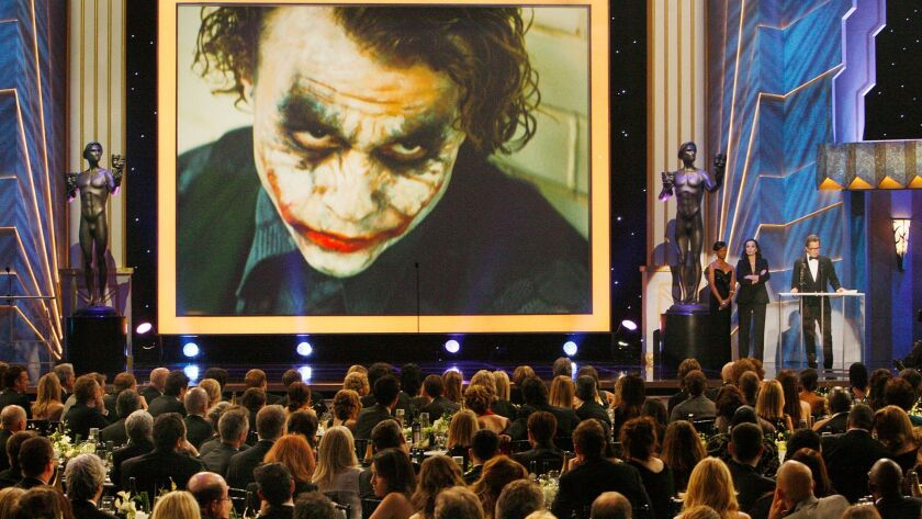 "Gary Oldman accepts Heath Ledger's Actor award for a Male Actor in a Supporting Role in ""The Dark Knight"" at the 15th Screen Actors Guild Award."