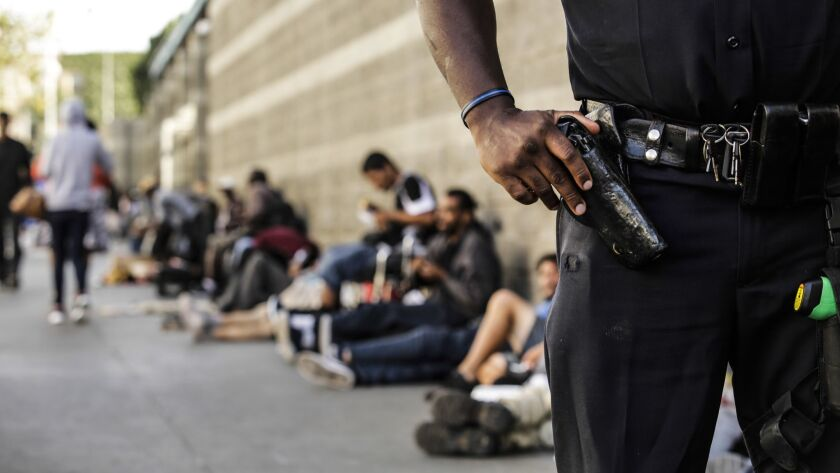 LOS ANGELES, CA -- WEDNESDAY, SEPTEMBER 26, 2018-- Officer Deon Joseph stands on the block where th