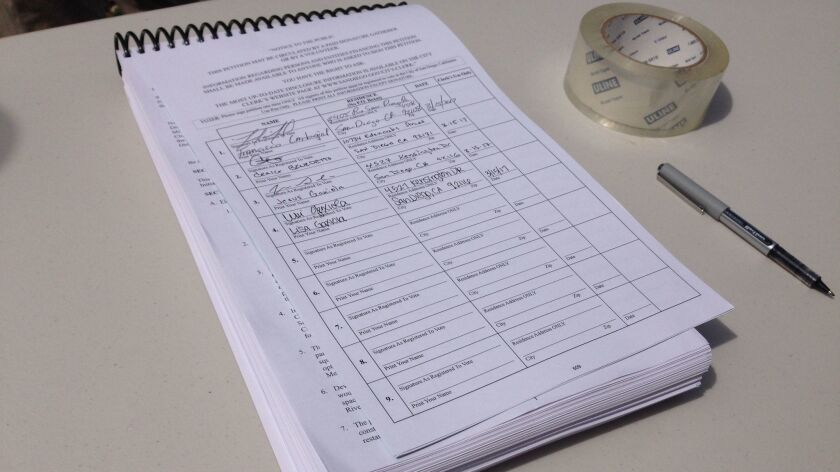 The SoccerCity initiative runs more than 300 pages that attached to the signature pages that registered voters sign.