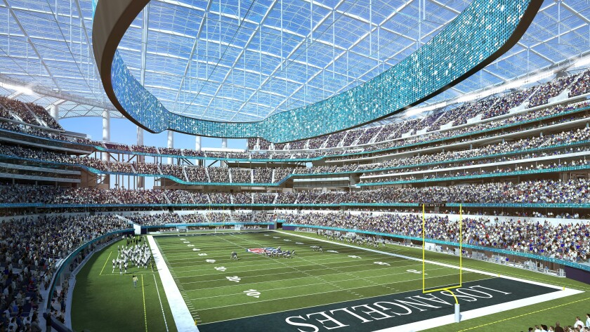 Rendering of what completed SoFi Stadium will look like.
