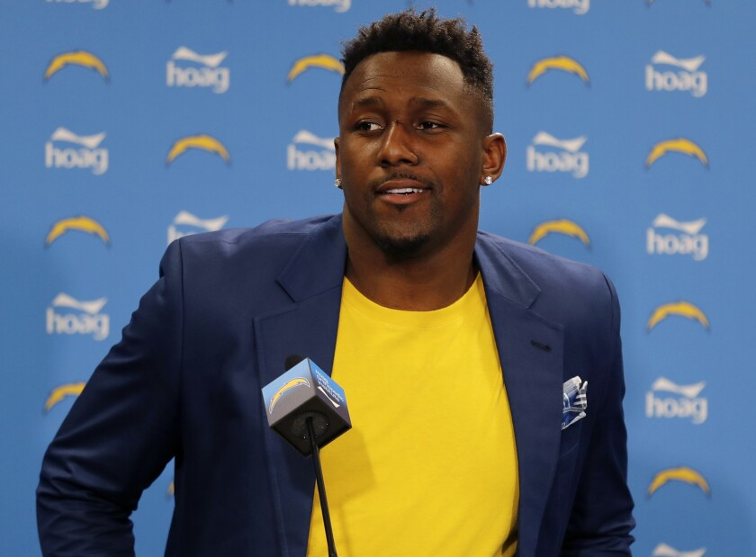 Chargers linebacker Thomas Davis speaks during his introductory news conference after signing with the team in March.