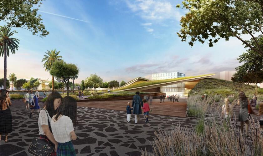 Rendering of La Brea Tar Pits Arrival Plaza by Diller Scofidio + Renfro