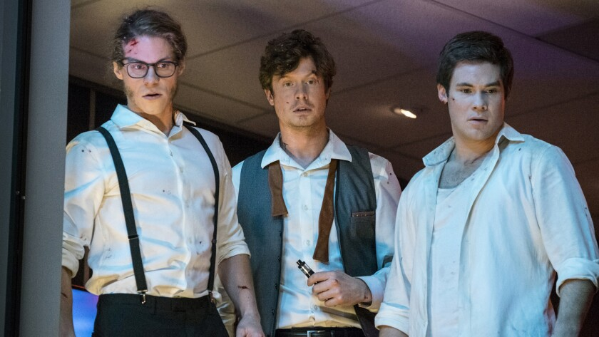"""Blake Anderson, from left, Anders Holm and Adam Devine in the movie """"Game Over, Man!"""""""
