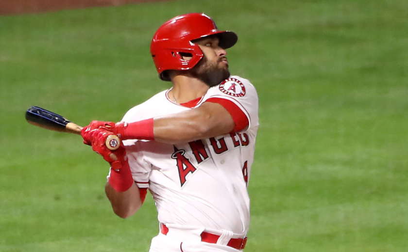 Angels' José Rojas bats during a game against the Chicago White Sox.
