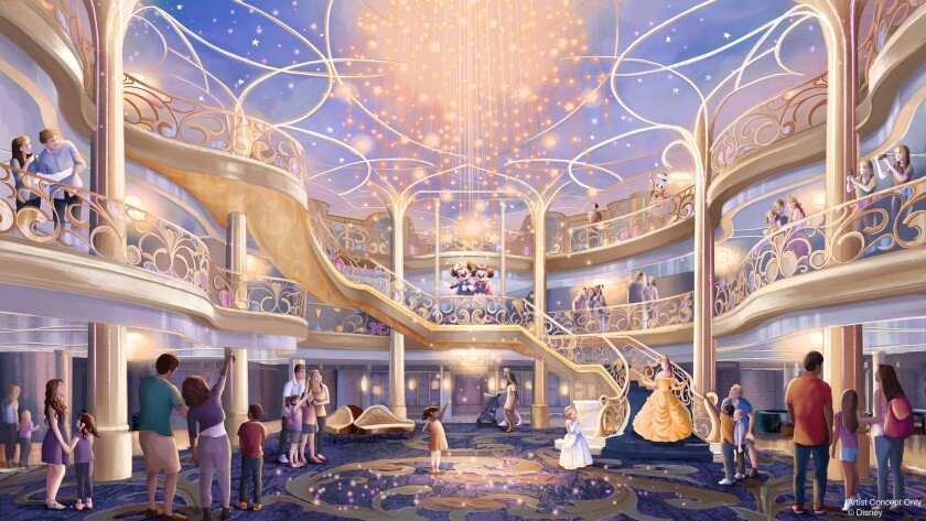 An artist's rendering of the three-story atrium of the Disney Wish.