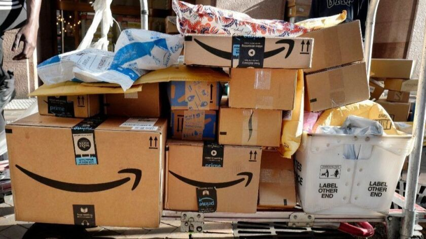 Amazon Prime boxes being readied for delivery in New York.
