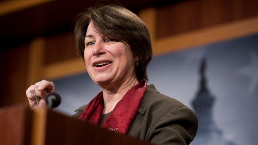 Sen. Amy Klobuchar (D-Minn.) unveiled with Sen. Roy Blunt (R-Mo.) the Senate version of legislation to reform how sexual harassment claims are handled on Capitol Hill.