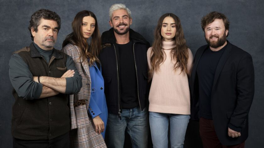 "Director Joe Berlinger, actors Angela Sarafyan, Zac Efron, Lily Collins and Haley Joel Osment from the film ""Extremely Wicked, Shockingly Evil and Vile."""