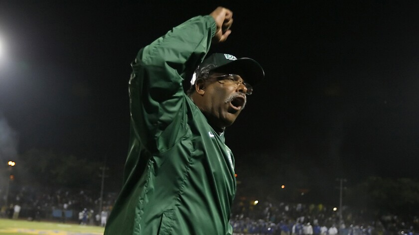 Dorsey coach Paul Knox saw his team come up with a blocked punt of Taft on the final play of the 2001 City Section championship football game. His player fell on the ball in the end zone as time expired for a thrilling 19-14 win.
