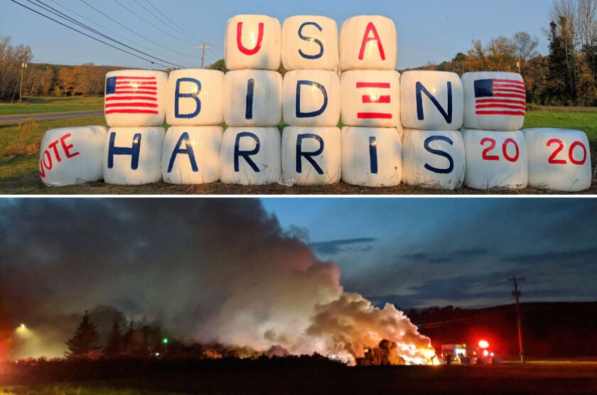 A Massachusetts farm's display of Biden-Harris painted hay bales; a second image shows the bales on fire.