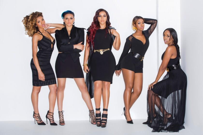 """The still-unnamed female-powered supergroup created on Kelly Rowland's BET docuseries """"Chasing Destiny"""": Brienna DeVlugt, from left, Gabrielle Carreiro, Kristal Lyndriette, Shyann Roberts and Ashly Williams made the cut."""