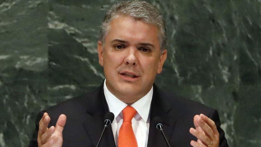 Colombian President Ivan Duque speaks at the U.N. in 2018
