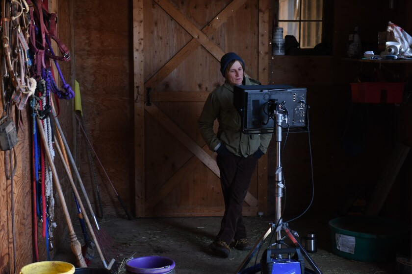 "Director Kelly Reichardt from the set of ""Certain Women."""