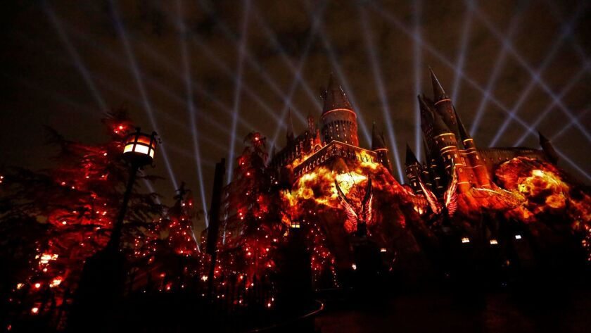A view of Hogwarts Castle at the Wizarding World of Harry Potter in Universal Studios Hollywood.