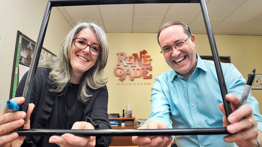 Renegade Animation partners, Executive Producer Ashley Postlewaite, left, and Supervising Director D