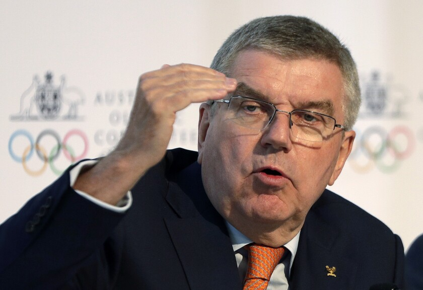 International Olympic Committee president Thomas Bach speaks during a news conference.