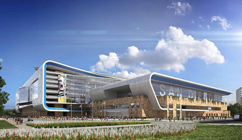 2014 rendering shows a concept for combining the convention center and a stadium. In the foreground is a meeting/ballroom building. Behind it is the stadium on top of a ground floor exhibit hall. Credit: Populous and JMI Realty.