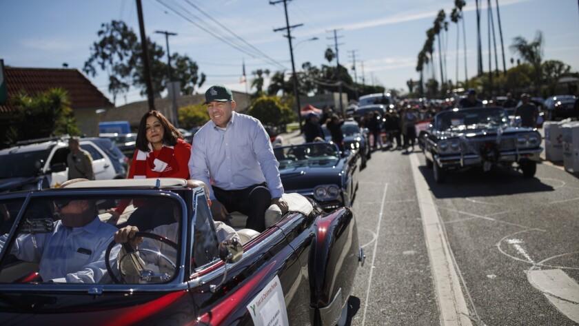 LOS ANGELES, CALIF. -- SUNDAY, DECEMBER 2, 2018: Sheriff-elect Alex Villanueva and his wife Vivian a
