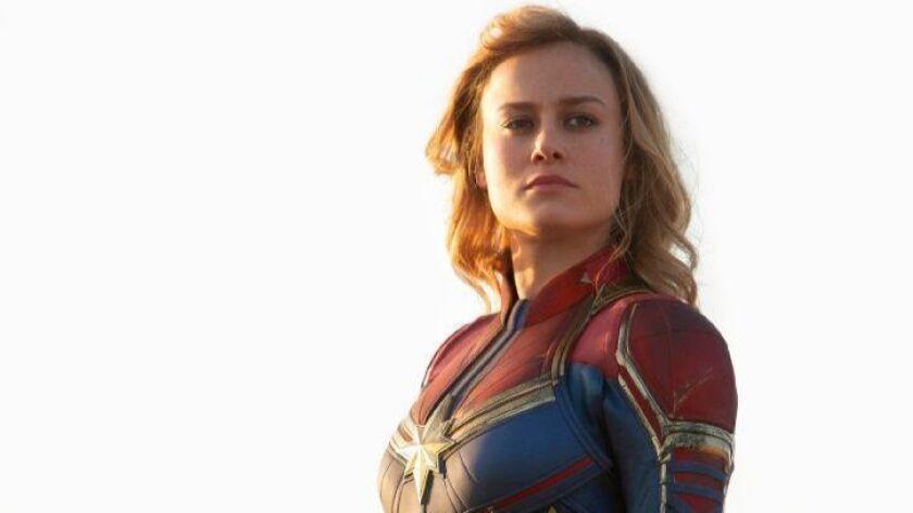Brie Larson as Carol Danvers, a.k.a. Captain Marvel, in the new Marvel blockbuster.