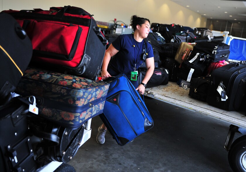 The nation's airlines had a nearly 4% drop in revenue from checked bag fees in 2013, compared to the previous year.