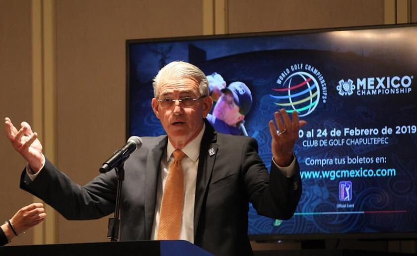 PGA Executive Director Gerald Goodman speaks to reporters this Tuesday, Jan. 22, 2019, in Mexico City about the upcoming World Golf Championships' Mexico Championship, which is still waiting for an answer from US star Tiger Woods about whether he will be a contender or not. EFE-EPA/Mario Guzman