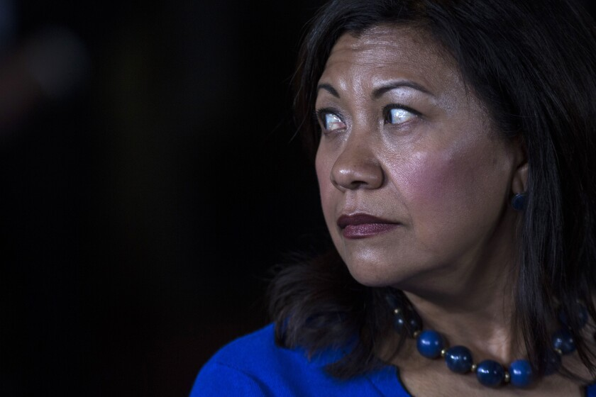 Rep. Norma Torres (D-Pomona) listens during a news conference.