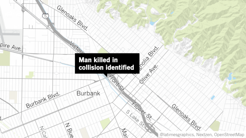 Authorities identified 56-year-old Jon Peterson as the man who died in Burbank on Sunday, Sept. 8, after being struck by a vehicle while walking on an off-ramp for the 5 Freeway.