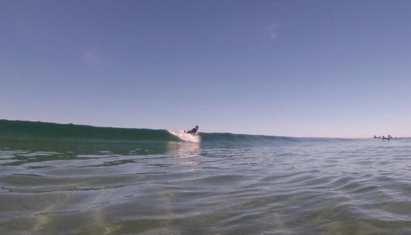 A surfer drops into a wave at Blacks Beach in La Jolla, near UC San Diego.