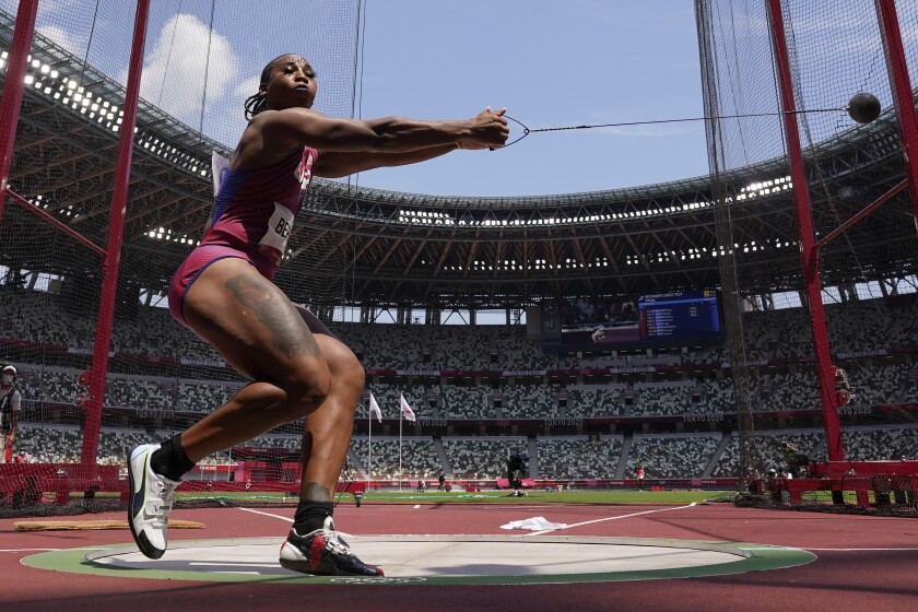 Gwen Berry, of the United States, competes in the women's hammer throw.