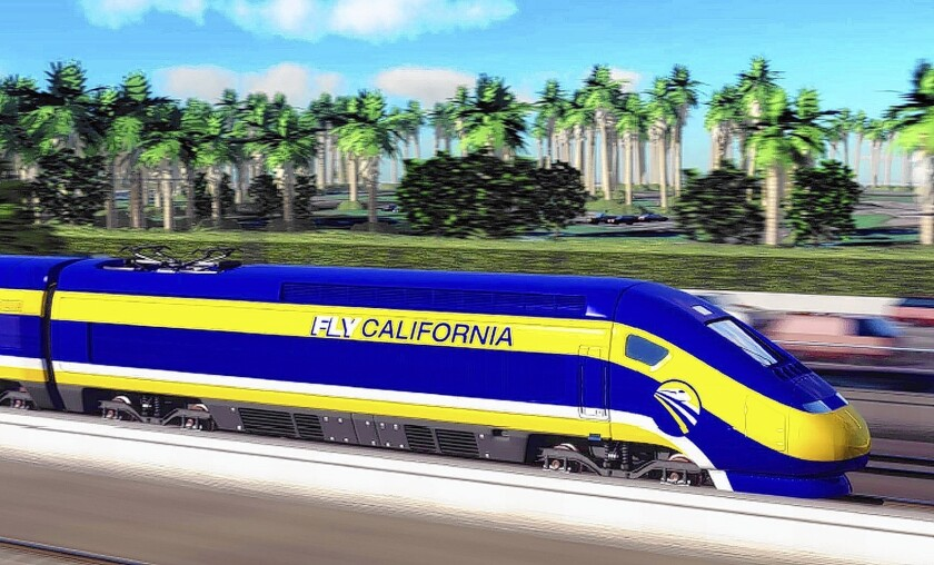 An artist's concept of a high-speed rail car in California. Planners are adding a Los Angeles County segment between Burbank and Palmdale to address concerns that construction was starting in the Central Valley.