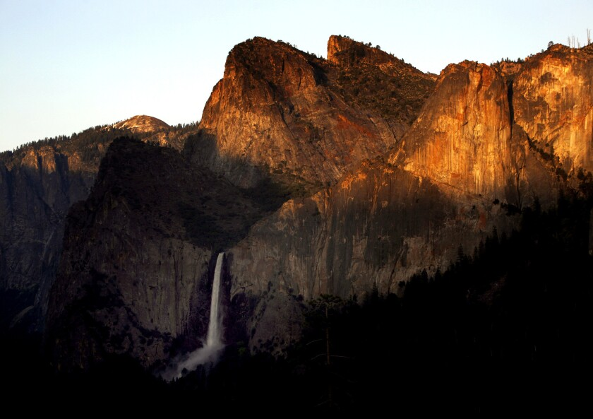 Bridalveil Fall and Cathedral Rocks in Yosemite National Park
