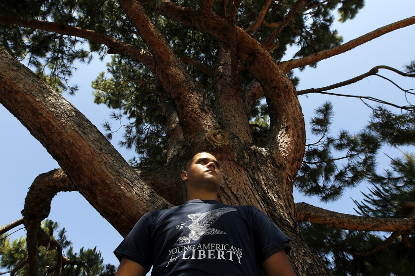 """Citrus College student Vincenzo Sinapi-Riddle alleges, among other things, that an administrator threatened to eject him from the campus for circulating an anti-NSA petition outside the small area on the campus quad that the college has designated a """"free speech area."""""""""""