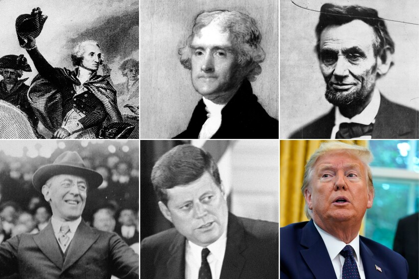 Clockwise from top left; Painting of Gen. George Washington leads in the battle at Princeton, Jan. 3, 1777; an oil painting of Thomas Jefferson in 1805; 1865 photo of President Abraham Lincoln in Washington; President Donald Trump in the Oval Office; 1961 photo of President John F. Kennedy; and 1916 photo of President Woodrow Wilson throwing out ball at a baseball game in Washington.