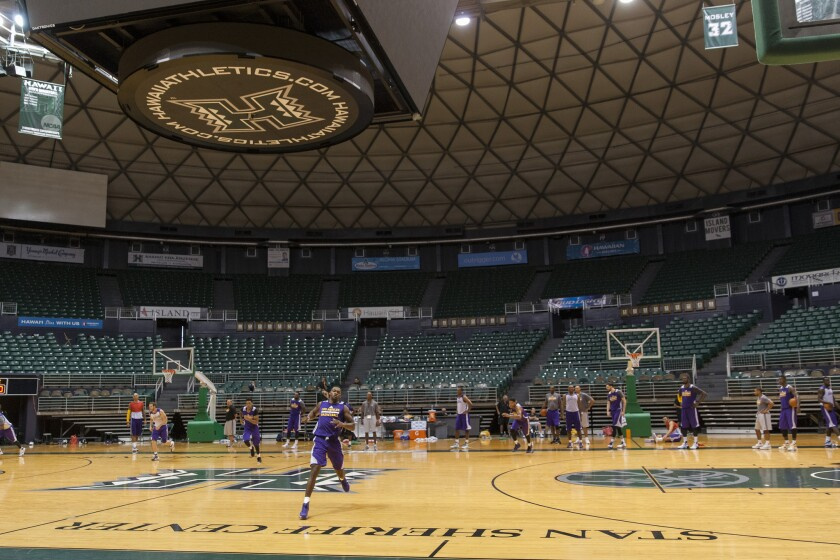 The Lakers practice at the Stan Sheriff Center on Sept. 29, 2015 in Honolulu.