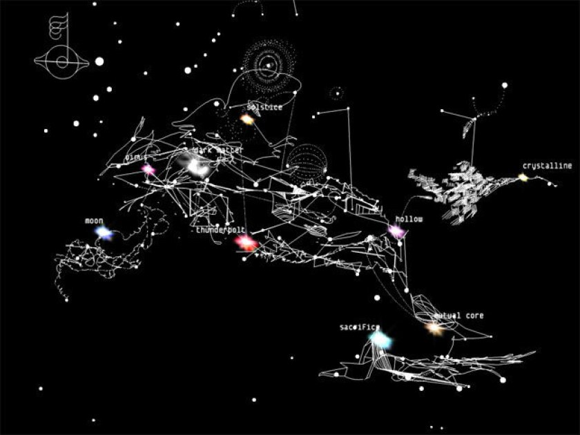 """Bjork's """"Biophilia,"""" her album from 2011, was released as an app. Seen here: a galaxy in which individual stars served as entry points for songs and multimedia experiences."""