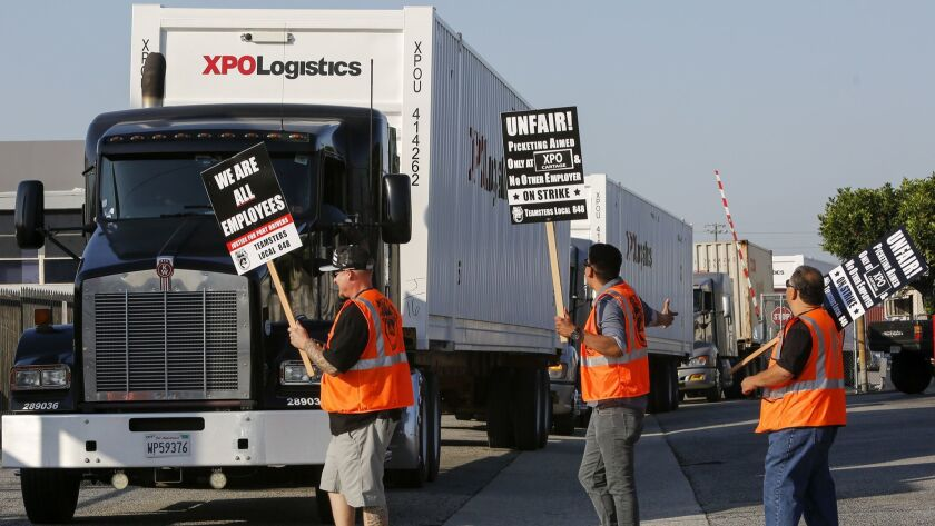 COMMERCE, CA, JUNE 19, 2017: Striking truck drivers and workers who service the Los Angeles and Long