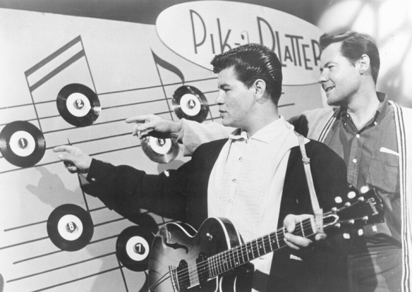 Bob Keane, right, is credited with discovering and nurturing young Latino musical sensation Ritchie Valens, left, whose life was cut short by a plane crash in 1959.