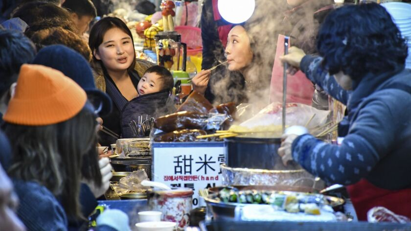 SEOUL, SOUTH KOREA - Gwangjang Market in Seoul is considered the biggest food market in the city, wi