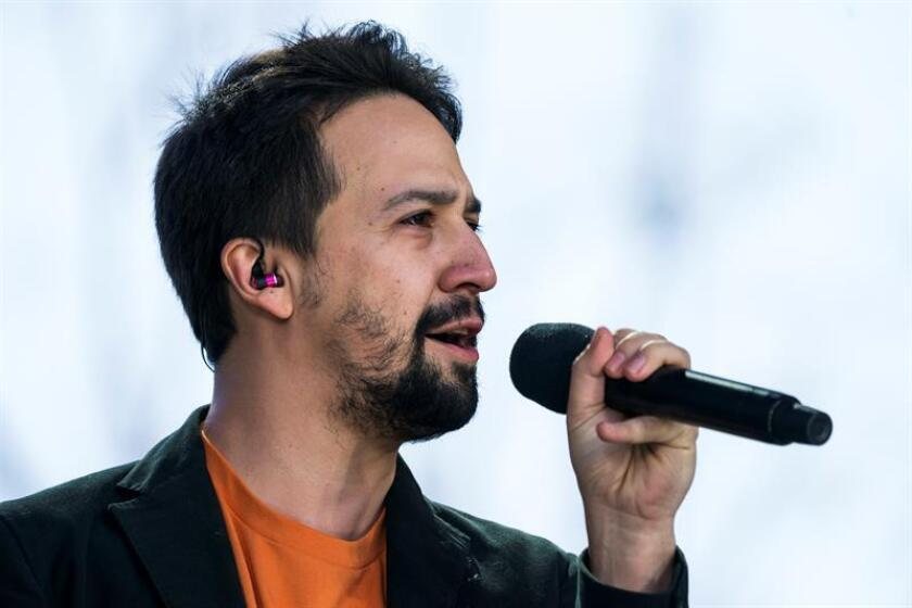 Performer Lin Manuel Miranda sings 'Found Tonight' at the March For Our Lives in Washington, DC, USA. EFE/EPA/File