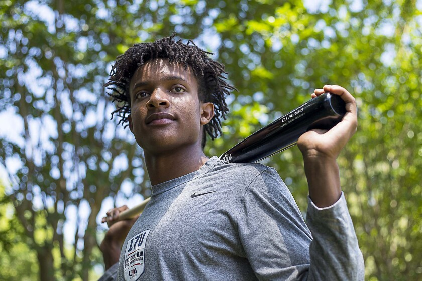 CJ Abrams stands for photo at his family's Alpharetta, Ga., residence, Friday, May 24, 2019. The Padres selected him sixth overall in the 2019 draft.
