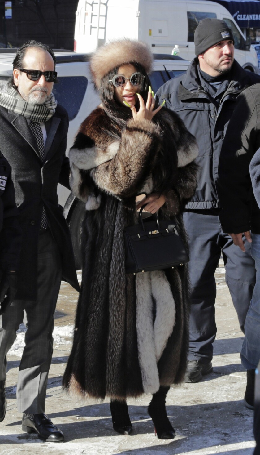 Hip-hop recording artist Cardi B arrives at Queens County Criminal Court, Thursday, Jan. 31, 2019, i