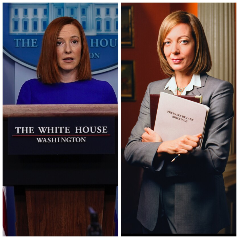"A diptych of White House Press Secretary Jen Psaki and Allison Janney as Claudia Jean 'C.J.' Cregg in the ""West Wing."""