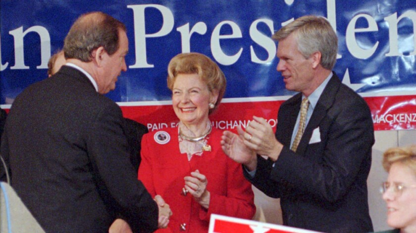 Phyllis Schlafly campaigned on behalf of numerous Republican presidential candidates in recent decades, leading up to Donald Trump just earlier this year. Above, Schlafly announces her endorsement of then-presidential hopeful Pat Buchanan in Columbia, S.C. in 1996.
