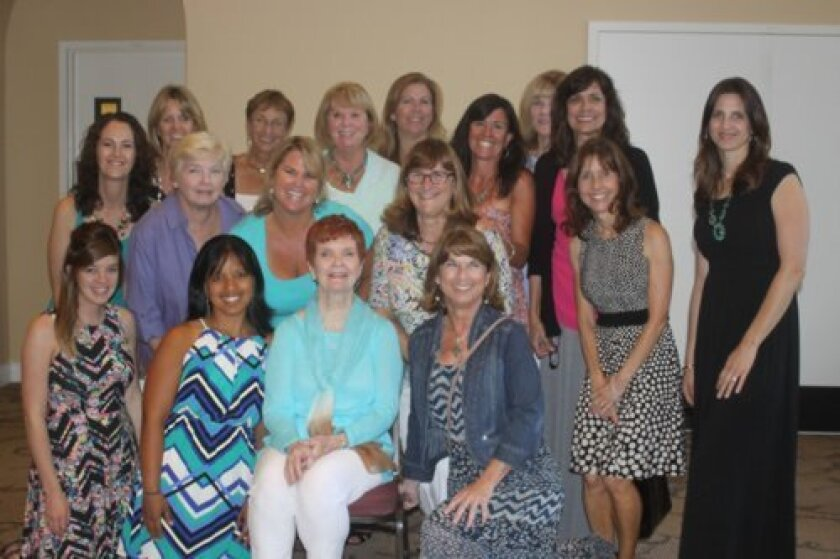 Current and former teachers honor Betty Hilbert: (front row) Jenn Loper, Michele Chapman, Betty Hilbert, Julie Gibbs; (middle row) Susan Hinmon, Mary Jane Mitchell, Amy Jones, Mare Peddie, Connie Evans, Carrie Hicks; (top row) Tracy Martin, Valorie Anderson, Mary Lynn Carroll, Michelle Goeglein, Ne